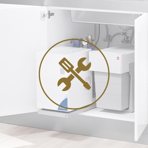 Einbau | Abfalltrennsystem für Drehtür yource pro select